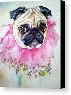 Jester Pug Canvas Print by Christy  Freeman.  All canvas prints are professionally printed, assembled, and shipped within 3 - 4 business days and delivered ready-to-hang on your wall. Choose from multiple print sizes, border colors, and canvas materials.