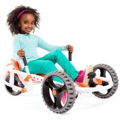 With the YBike Explorer's side-mounted steering handles and quick-swivel rear wheel, this lean, mean, kid-powered machine just screams for a driveway slalom course. Ages 5 to 10. YBike, $199.99