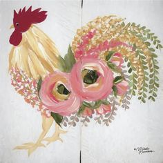 Floral Rooster perfect for the modern farm house. Floral Rooster on White Wall Art by Norman, Michele from Great BIG Canvas. Rooster Painting, Rooster Art, Chicken Painting, Chicken Art, Canvas Wall Art, Canvas Prints, Big Canvas, Black Canvas, White Wall Art