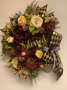 Excited to share this item from my #etsy shop: Blessed Fall Floral Wreath, Designer Fall Decor, Black & Gold, Burgundy Floral Wreath, Thanksgiving Wreath, Pumpkin Floral Wreath #holidaze #fallwreath #blessedwreath #fallfloralgrapevinewreath #luxurydecor #sunflowers #hydrangeas #roses #peony #designerribbon #farrisilkribbon #wreaths #holidaydesigner #wreathmaker #wreathshop #homedecor #autumndecor #mantledecor #google #etsy #etsyfinds #shopsmallbusinesses #instalike