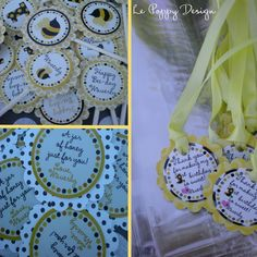 Bumble Bee Birthday Party Ideas: The cutest little bumble bee party favor tags and cupcake toppers.