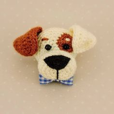 Dog brooch, Amigurumi Brooch, Crochet Dog, Crochet accessory, Crochet jewelry, Knitting Dog Cute amigurumi crochet brooch pug adorned jacket or scarf. This brooch will be the dream of every lovers of dogs. You may pick the color of ribbon you would like. Brooch size is 4cm x4cm,