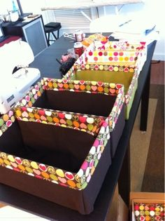 Repurpose cardboard boxes into cute storage boxes @ Home Improvement Ideas