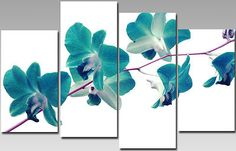 Extra Large Teal Orchids Flower Canvas Wall Art Split Multi 4 Panel Ready 2 Hang