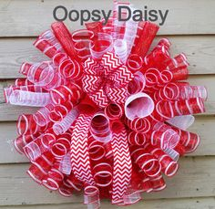 christmas candy spiral poly mesh wreath with by OOPSYDAISYDESIGNS, $60.00