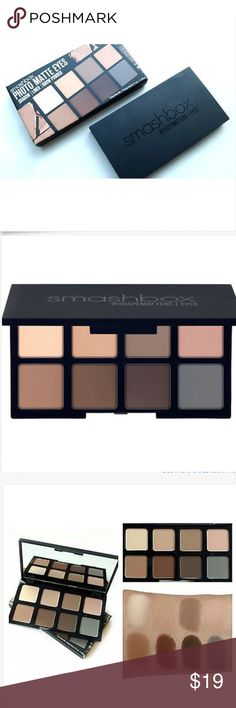 Smashbox Photo Matte Eyeshadow Liner Brow Powder Brand New In Original Box Smashbox Photo Matte Eyeshadow/Liner/Brow Powder Palette 0.17 OZ Mini  It's truly everything you need for eyes in one must-have portable palette. 8 all-matte wet/dry shades that can be used as liner, shadow or brow powder. Shades: Haze (light gray) Rosehip (muted pink) Grounded (medium cool brown) Wheat (soft warm brown) Vanilla (soft light beige) Desert (medium/neutral brown) Earthy (warm brown) Canyon (dark brown)…