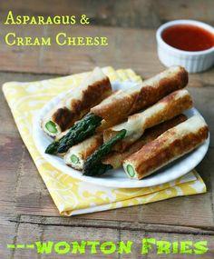 Asparagus and Cream Cheese Wonton Fries