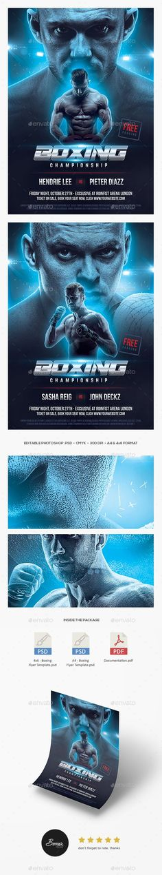 Boxing flyer / boxing poster template for Photoshop perfect to promote your boxing match, MMA, UFC, kickboxing, wrestling, or any professional fighting sports event. Available now to download, only on our GraphicRiver design store.