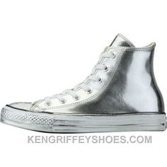 324af7023e13 Converse Chuck Taylor All Star Chrome Leather (Womens) - Silver RhayS. Ken  Griffey Shoes