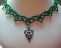 NFL Green Bay PackersTatted Necklace, tatting jewelry, official logo charm, lace jewelry, football