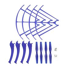 Coolplay Syma X5HC X5HW Spare Parts Main Propellers  Protective Propeller Guard  Landing Skid Included Mounting Screws for RC Mini Quadcopter Toy Blue -- For more information, visit image link.Note:It is affiliate link to Amazon.