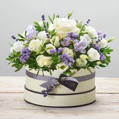 Lovely Lilacs Hatbox - Flowers by Design Hat Box Flowers, Flower Box Gift, Flower Boxes, Deco Floral, Arte Floral, Unusual Flowers, Beautiful Flowers, White Spray Roses, Rose Flower Arrangements