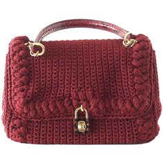 Pre-owned DOLCE&GABBANA bag jewel toned lush crochet snakeskin handle... (2,465 CAD) ❤ liked on Polyvore featuring bags, handbags, shoulder bags, handbags and purses, red shoulder bag, crochet purse, shoulder handbags and accessories handbags