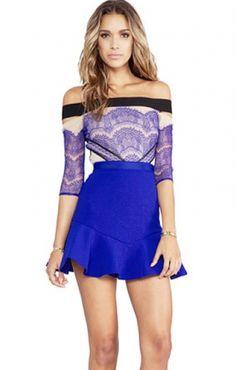 Blue Off-shoulder Mesh Splicing Falbala Hem Lace Dress