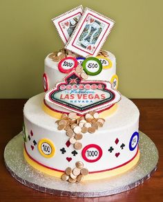 Vegas Cake for a wedding or casino party or my Good Luck party I have each New Year's Day! We bet this #Vegas cake brings good #Luck!