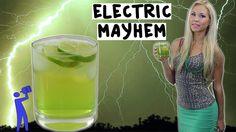 Electric Mayhem RECIPE:  1 oz. (30ml) Green Apple Vodka 1 oz. (30ml) Sour Apple Pucker 1/2 oz. (15ml) Midori 1/2 oz. (15ml) Lime Juice Top with Energy Drink