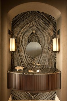 Powder Room - Contemporary & elegant - cleverly conceived.  (re-pinned photo Renée Gaddis Interiors)