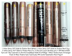 BeautyRedefined by Pang: Swatch, Comparison, and Dupes - Nude, Brown, and Gold Eye Pencils