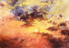 sky - watercolor practice 1 by Katarzyna-Kmiecik on DeviantArt Watercolor Sky, Watercolor Landscape, Icarus Myth, Fire Photography, Learn To Paint, Acrylic Colors, Cool Art, Art Drawings, Original Paintings