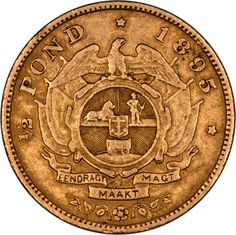 1895 South Africa Half Pond Gold... Gold And Silver Coins, Silver Bars, Gold Money, World Coins, Rare Coins, African History, Coin Collecting, South Africa, Antiques