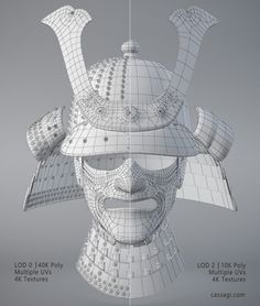 Japan samurai helmet game asset LODs wireframe by Cassagi