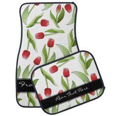 Red Tulip Floral Patten Car Floor Mats - Car Accessories #driving #floraldesign #original #originaldesign #personalized
