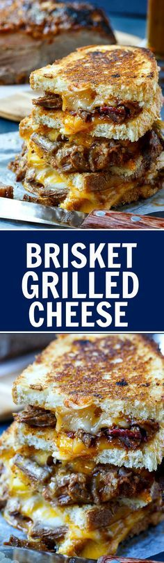 Brisket Grilled Cheese - The most delicious way to use up leftover brisket! Grilled Cheese Recipes, Beef Recipes, Cooking Recipes, Grilled Cheeses, Grilled Polenta, Grilled Calamari, Grilled Cauliflower, Soup And Sandwich, Gourmet