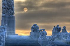 Oslo, Norway  Vigeland Sculpture Park in the Winter