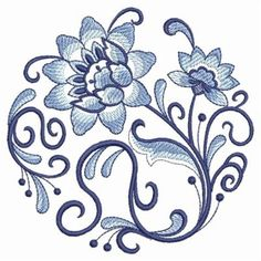 Jacobean Embroidery Patterns | Jacobean Floral Coaster Machine Embroidery Designs Pic #22