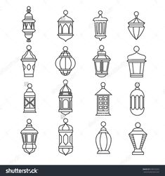 Ramadan vintage lantern linear icons. Vector muslim antique lamp symbols. Old oil lantern classic illustration