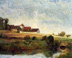 """""""Der Hof in Grue"""", öl auf leinwand von Paul Gauguin (1848-1903, France)"""