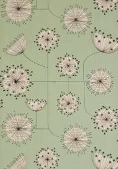 Dandelion Mobile wallpaper in Mist Green with White, by MissPrint