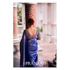 Soft spoken and composed,this dainty soul was so passionately involved in every single detail that went behind the… Blue Silk Saree, Bridal Silk Saree, Saree Wedding, Wedding Bride, Bridal Blouse Designs, Saree Blouse Designs, Baptism Dress For Mom, South Indian Bride Saree, Engagement Saree