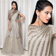 Spotted: in grey floor length anarkali with tassled embroidery detail ✨ this outfit at Carma by sending us a screenshot at Bollywood Outfits, Pakistani Outfits, Bollywood Fashion, Indian Outfits, Bollywood Style, Bollywood Dress, Lehnga Dress, Lehenga Choli, Anarkali
