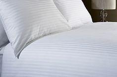 400 Thread Count KING BED SIZE SATIN STRIPE WHITE 100% Eg…