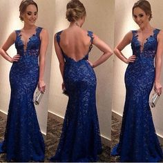 Slim Deep V Backless Long Lace Dress Party Dress|Fashion Dresses - Clothing & Apparel - ByGoods.com