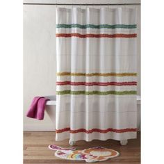 d-friendly shower curtain. Shower curtain covered with ruffles in white and bright colors, perfect for kids. Shower curtain measures 72 L x 72 W. Complete the. More Details Bathroom Window Coverings, Bathroom Windows, Bathroom Mirror Storage, Bathroom Kids, Kids Bathroom Accessories, Ruffle Curtains, Cool Shower Curtains, Bath Girls, Beds For Sale