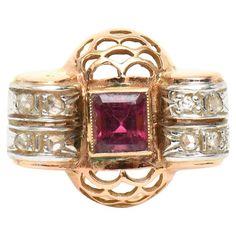 Retro Rubelite Diamond Gold Ring | 1stdibs.com