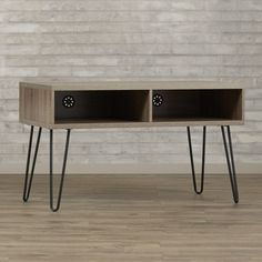 Small Spaces Retro Vintage Wooden TV Stand With Metal Legs And 2 Open Shelves #Varick #RetroVintage