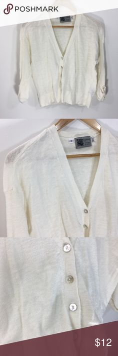 Habitat Ivory Linen Cotton Cardigan Shell Buttons Habitat Ivory Linen Cotton Cardigan Shell Buttons  Sweet crop cardigan that will go with all sorts of outfits. Full to 3/4 sleeves, roll-up with buttons.  Linen Cotton Blend Habitat Sweaters Cardigans
