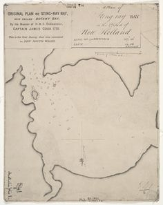 Today in Captain James Cook in the Endeavour, landed at Botany Bay. Cook's first choice of name for Botany Bay was Sting Ray's Harbour, as recorded in his log. I Think Map, Captain James Cook, The Endeavour, Australian Painting, Botany Bay, World History Lessons, May Bay, Old Maps, Vintage Maps