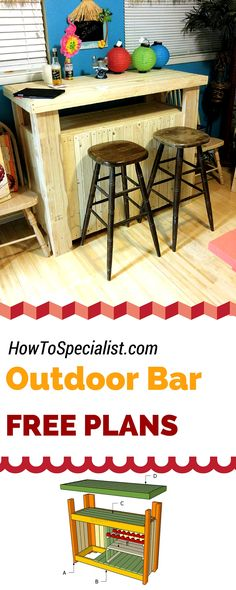 How to build an outdoor bar - Free plans for you to build a wooden bar using my step by step instructions and diagrams! #diy #bar howtospecialist.com