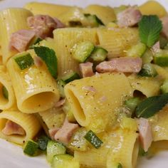 """This is """"Pasta con zucchine, limone, menta e tonno fresco"""" by Al.ta Cucina on Vimeo, the home for high quality videos and the people who love them. Cold Lunch Recipes, Vegetarian Recipes, Pasta Recipes, Cooking Recipes, Weird Food, Fish Dishes, Creative Food, My Favorite Food, Food Videos"""