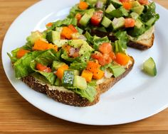 open-faced veggie salad sandwich with hummus