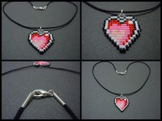 Hand Woven Seed Bead Heart Necklace by Pixelosis.deviantart.com on @deviantART