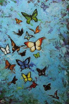 Butterflies 13 24x36 inch butterfly original insect animal portrait oil painting by Roz. $390.00, via Etsy.