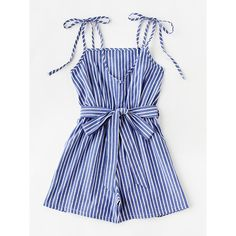 SheIn(sheinside) Vertical Striped Self Tie Shoulder Belt Romper (29.345 COP) ❤ liked on Polyvore featuring jumpsuits, rompers, dresses, playsuits, blue romper, romper jumpsuit, striped romper, sleeveless rompers and blue jumpsuit