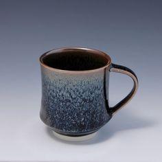 Wheel Thrown Porcelain Mug with Oil Spot / Tenmoku Glaze by HsinChuen Lin 林新春