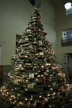 library Christmas tree made out of books.