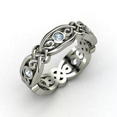 Sterling Silver Ring with Aquamarine | Brilliant Alhambra Band | Gemvara